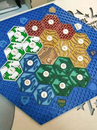 Buy Settlers of Catan Board | 5-6 Players FULL. Blue. Custom, Wood, Laser Cut.