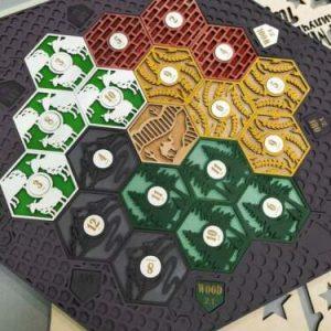 Buy Settlers of Catan Board | 3-4 Players FULL. Dark grey. Custom, Wood, Laser Cut.