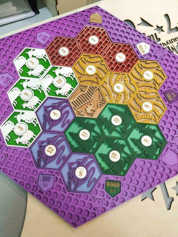 Buy Settlers of Catan Board | 3-4 Players FULL. PINK. Custom, Wood, Laser Cut.