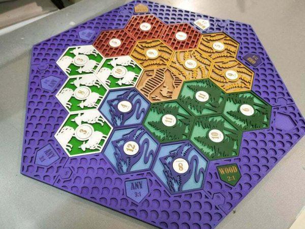 Buy Settlers of Catan Board | 3-4 Players FULL. Purple. Custom, Wood, Laser Cut.