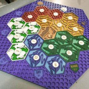 Buy Settlers of Catan Board | 5-6 Players FULL. Purple. Custom, Wood, Laser Cut.