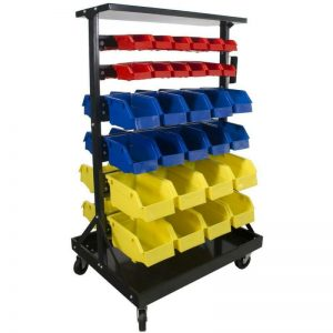 Buy Small Parts Rack Storage Organizer Mobile Wheels 60-Bins Double Sided Nuts Bolts
