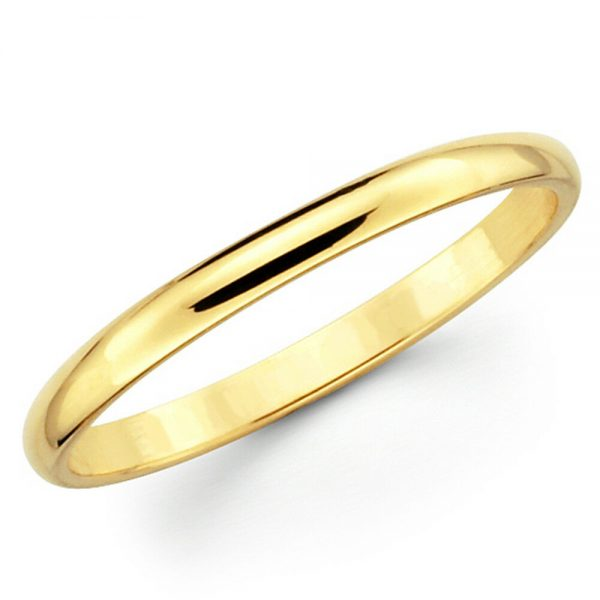 Buy Solid 10K Yellow Gold 2mm 3mm 4mm 5mm Comfort Fit Men Women Wedding Band Ring