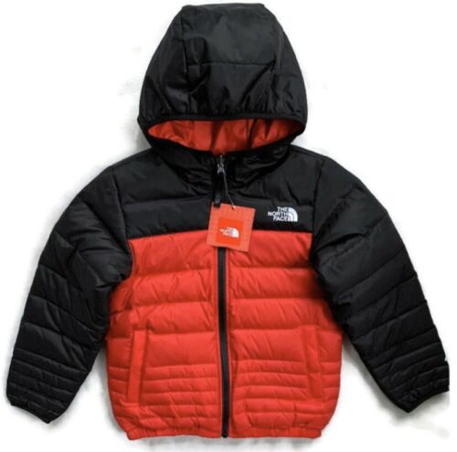 Buy THE NORTH FACE Boys Reversible Down Jacket Hooded Full Zip Red Black NWT XS 6