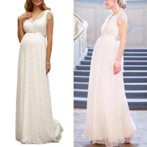 Buy TIFFANY ROSE Kristin Long Lace Maternity Wedding Dress V Neck Ivory US 6 $575