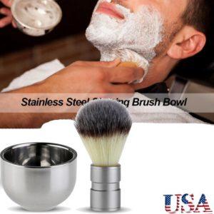Buy TINKSKY  Stainless Steel Badger Hair Shaving Brush Double Layer Shave Bowl Mug