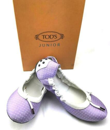 Buy TOD'S Girls' Ballet Flats in Purple Fabric & Italian Leather Trim US SZ 3 - NEW!