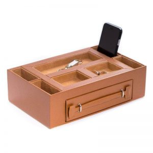 Buy Tan Leather Open Face Valet Box