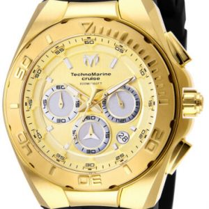 Buy Technomarine TM-117004 Men's 45mm Cruise 'Steel' Gold w Black Strap