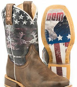 Buy Tin Haul Eagle Kids Boys Brown Leather Freedom Cowboy Boots