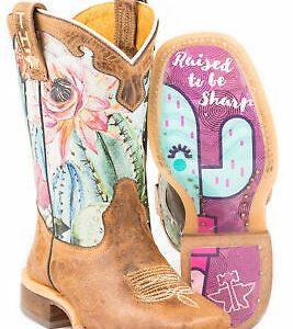 Buy Tin Haul Girls Toddler Pink/Tan Leather Cactilicious Cowboy Boots