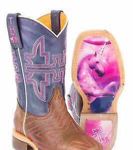Buy Tin Haul Starlight Girls Toddler Purple/Brown Leather Cowboy Boots
