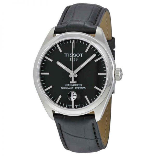 Buy Tissot PR100 Black Dial Black Leather Men's Watch T1014511605100