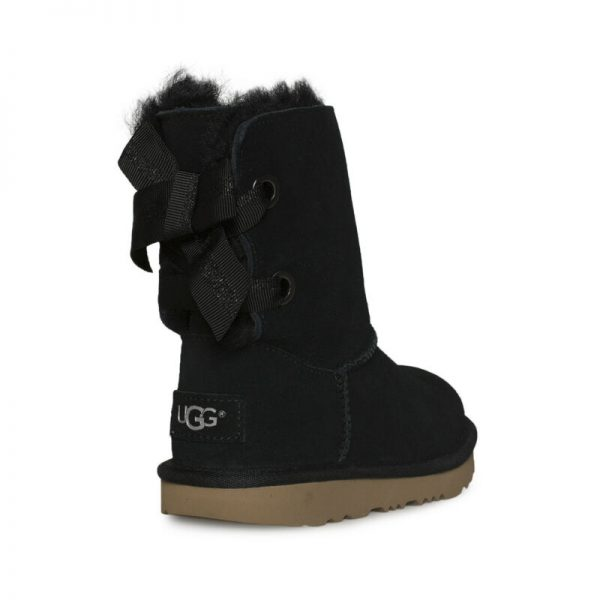 Buy UGG CUSTOMIZABLE BAILEY BOW II BLACK LEATHER BOOTS YOUTH 5 FIT'S WOMEN'S 7 NEW
