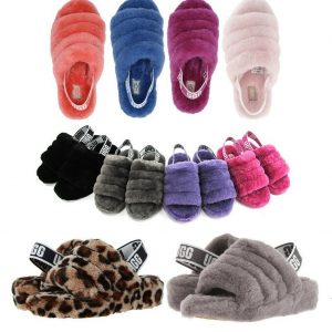 Buy UGG Soft Fluff Yeah Slide Slippers Women's Shoes Sandal Black Charcoal Leopard+
