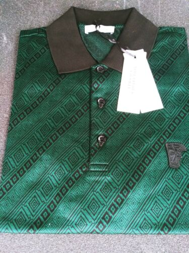 Buy VERSACE Collection 100% cotton Green short sleeve Medusa logo polo shirt sz S