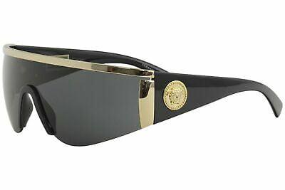 Buy Versace Women's Shield Sunglasses, Gold/Grey, One Size