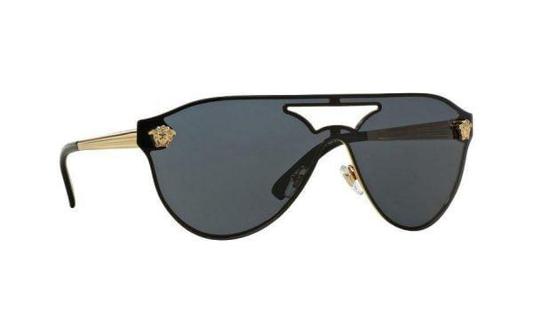 Buy Versace Women's VE 2161  100287  42 Black Shield Sunglasses NEW IN BOX 1002/87