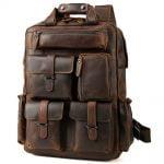 "Buy Vintage Men Leather Backpack 17"" Laptop Bag Large Hiking Travel Camping Carry On"