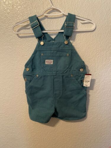 Buy Vtg OshKosh 3T Vestbak Green Bib Short Overalls Made in USA New With Tags