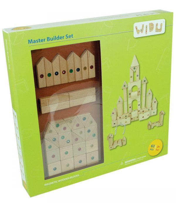 Buy WIDU Magnetic Wooden Building Blocks, 63 Piece Master Builder Set