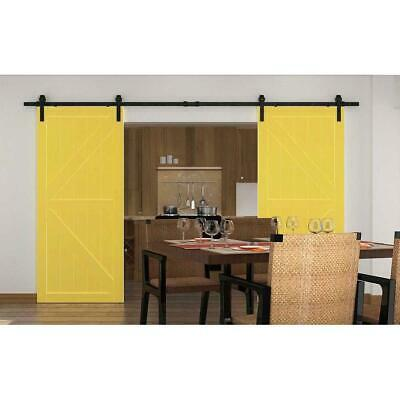 Buy WINSOON 90 In. Frosted Black Sliding Barn Door Hardware Track Kit For Double