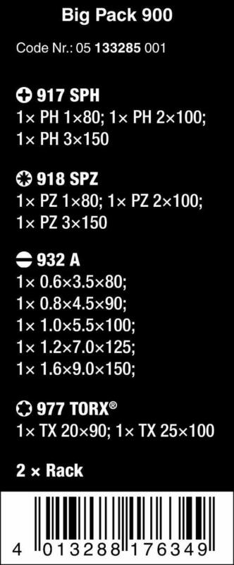 Buy Wera 133285 Kraftform Big Pack 900 13 Piece Slotted/Phillips/Pozidriv/Torx Screw