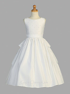 Buy White Flower Girls Satin First Communion Dress Wedding Party Easter Formal Pearl