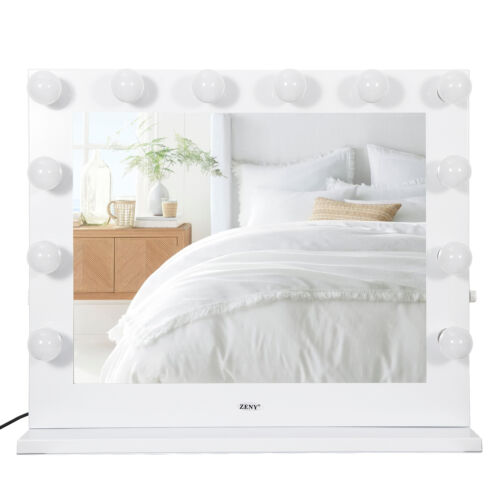 Buy White Hollywood Makeup Vanity Mirror with Light Stage Large Beauty Mirror Dimmer