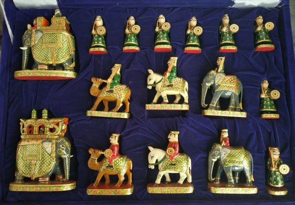 Buy Wooden Chess Set Hand Carved Real Gold Work in Painting Indian Figure Chess