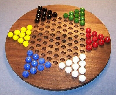 "Buy Wooden Marble Game Board - Chinese Checkers - Oiled -18"" Circle, Black Walnut"