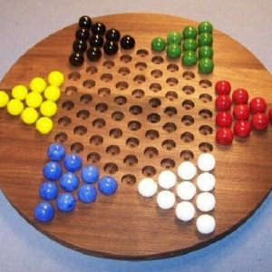 """Buy Wooden Marble Game Board - Chinese Checkers - Oiled -18"""" Circle, Black Walnut"""