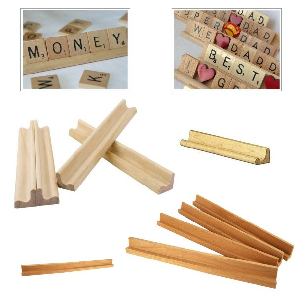 Buy Wooden Scrabble Tile Racks Holder Mah Jongg Replacement Letter Stand Art & Craft
