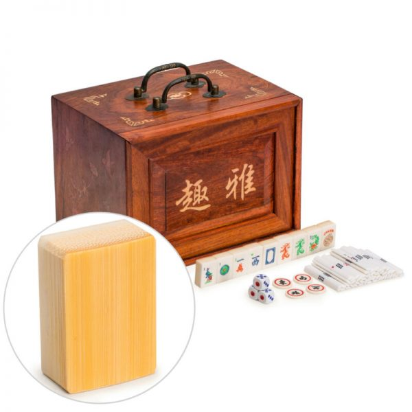 "Buy YMI - American Mahjong Set, ""Bone and Bamboo Tiles"" with 5-Drawer Wooden Case"