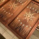 "Buy backgammon made of wood hand nade handicraft walnut wood engraved size18.5"" x9.5"