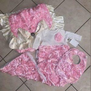 Buy newborn baby girl 4 pcs outfits clothes set Gown/Bib/burp Cloth/diaperBag Cameo