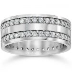 Buy 1 1/2ct Double Row Diamond Eternity Ring 14K White Gold