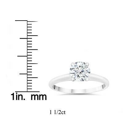Buy 1 1/2ct Lab Created Diamond Solitaire Engagement Ring 14k White Gold