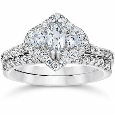 Buy 1 3/4ct 3-Stone Halo Enhanced Marquise Diamond Engagement Wedding Ring Set 14WG