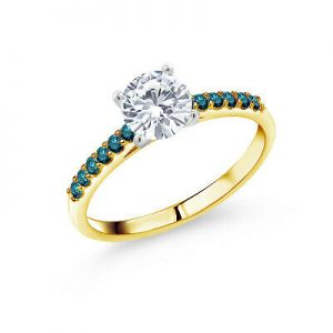 Buy 10K Yellow Gold Ring w/ White Gold Prong Forever One Created Moissanite Diamond