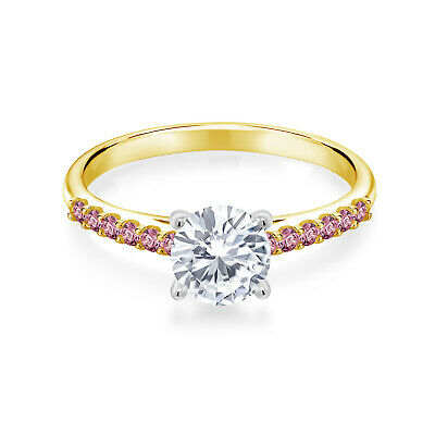 Buy 10K Yellow Gold Ring w/ White Gold Prongs Created Moissanite & Lab Grown Diamond