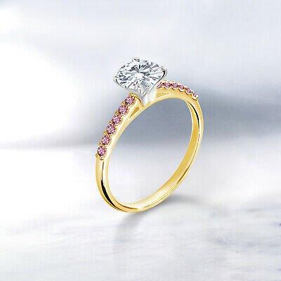 Buy 10K Yellow Gold Ring w/ White Gold Prongs Created Moissanite & Lab Grown Diamond