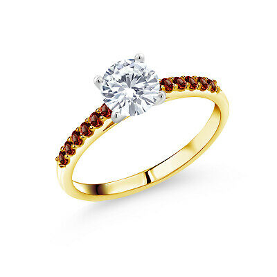 Buy 10K Yellow Gold Ring with White Gold Prongs Forever One Moissanite 0.80ct DEW