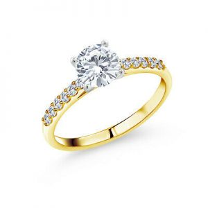 Buy 10K Yellow Gold Ring with White Gold Prongs Forever One Moissanite 1.00ct DEW