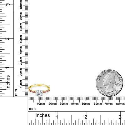 Buy 10K Yellow Gold Ring with White Gold Prongs Moissanite & Lab Grown Diamond