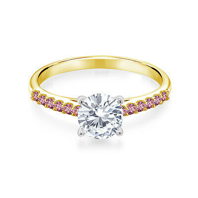 Buy 10K Yellow Gold Ring with White Gold Prongs Moissanite & Lab Grown Diamond