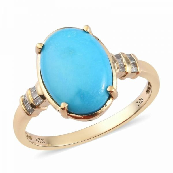 Buy 10K Yellow Gold Sleeping Beauty Turquoise Diamond Ring Size 8 Ct 5.2 H Color I3