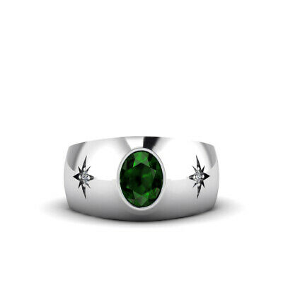 Buy 18K White Gold Classic Men's Ring 2.40ct Emerald and Diamonds Wedding Male Band