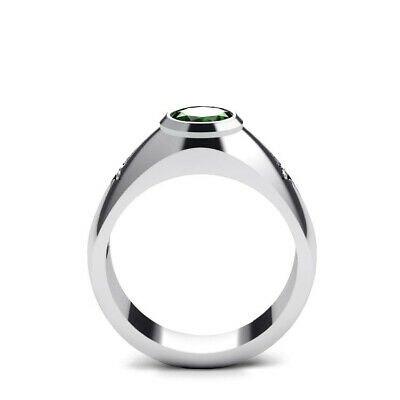 Buy Male Emerald Ring in 14K White Gold 2.40ct Emerald with Diamonds Engraved Band