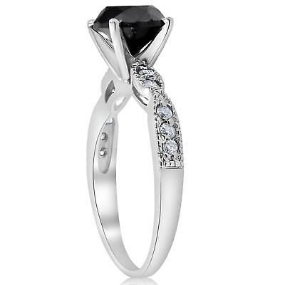 Buy 2 1/4ct Treated Black & White Diamond Engagement Ring 14K White Gold